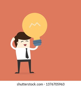 Business hold light blub icon on orange background