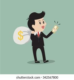 Business holding money.