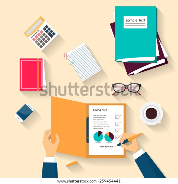 Business holding pen checklist document, Flat design, Vector illustration