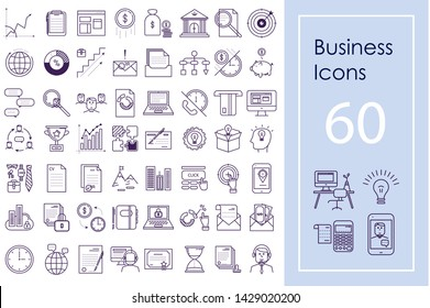 Business icon big set. Vector outline icons for website, apps and presentations.