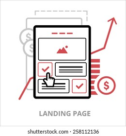 Business icon. Landing page. Flat vector illustration. Outlined IT icon for web site.