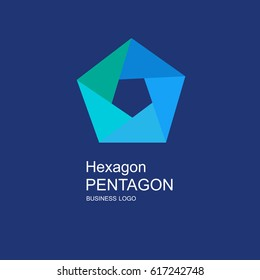 Business icon pentagon, flat pentagon, geometric design concept
