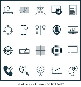 Business Icon Set Of 20 Universal Editable Symbols. Includes Elements Such As Safety, Graphical Grid, Security And Other Business Icon Set,