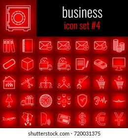 Business. Icon set 4. White line icon on red gradient backgrpund.