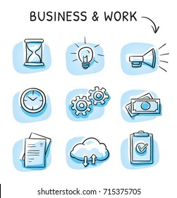 Business icon set with file sharing cloud, clock, hourglass, money, checklist, documents, light bulb and gears. Hand drawn sketch vector illustration, blue marker style coloring on single blue tiles.