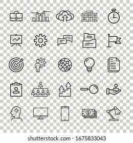 Business icon set in flat style. Finance strategy vector illustration on white isolated background. Marketing business concept.
