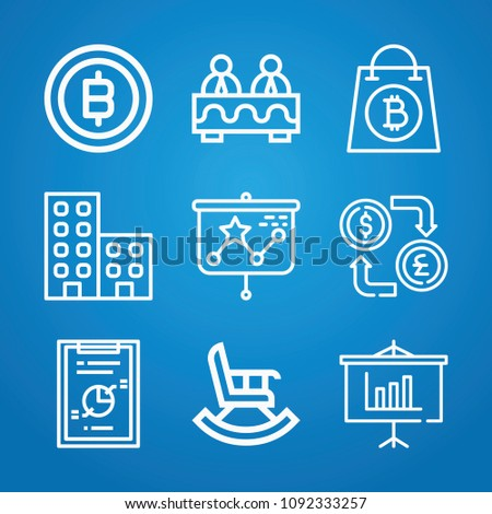 business icon set outline collection 9 stock vector royalty free