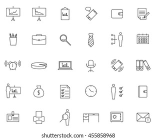 Business icon set, outline thin line isolated vector sign symbol, on white background
