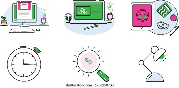 Business Icon Set Pack Computer, Laptop, iPod, Clock, Lamp, Calculator, Money, Cup, Coffee, Pen, Headphone, Keyboard, Mouse, Macbook, Lens, Flower | Office Icon Set | Icon Pack Office | MacBook PC
