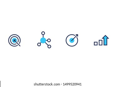 Business Icon Set - Target, Strategy, Outcome & Growth