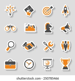 Business Icon Sticker Set - Finance, Strategy, Idea, Research, Teamwork, Success. Vector in two color