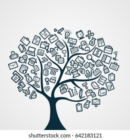 Business Icon Tree Vector Template Design