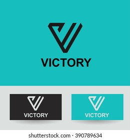 Business Icon - Vector logo concept victory template. Abstract emblem for letter V, VV, VVV,