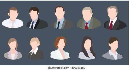 Business Icons Colorful Female and Male Faces Circle Icons Set in Trendy Flat Style