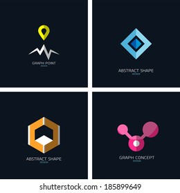 Business icons concept collection. Graph / map tag, 3d cube, info graph