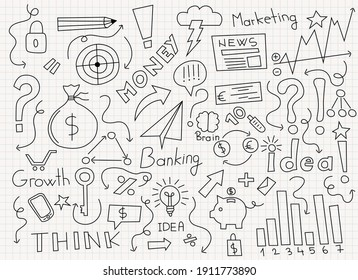 Business icons hand drawn vector illustration