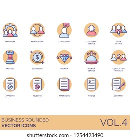 Business icons including teamwork, relationship, consulting, customer service, team leader, tactical, cash flow, premium, conflict of interest, approved, rejected, paperwork, invoice, contract.