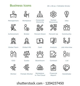Business Icons - Outline styled icons, designed to 48 x 48 pixel grid. Editable stroke.