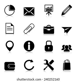 Business icons with reflection