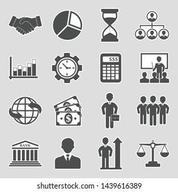Business Icons. Set 2. Sticker Design. Vector Illustration.