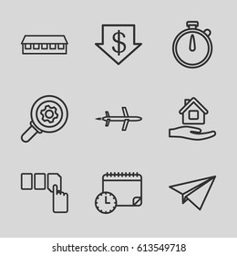 Business icons set. set of 9 business outline icons such as barn, dollar down, push button, home care, calendar with clock, plane, paper plane, gear