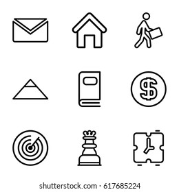 Business icons set. set of 9 business outline icons such as house building, pyramid, courier, photo album, dollar coin, chess king, alarm, target
