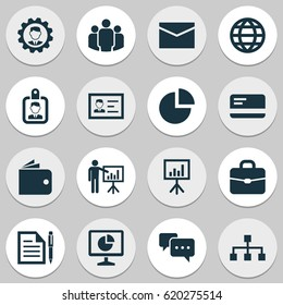 Business Icons Set. Collection Of Payment, Statistics, Presentation Board And Other Business Icons Elements. Also Includes Symbols Such As Letter, Pen, Hierarchy.