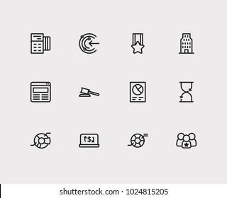 Business icons set. Credit card and business icons with proactive, leadership and law. Set of elements including sale for web app logo UI design.