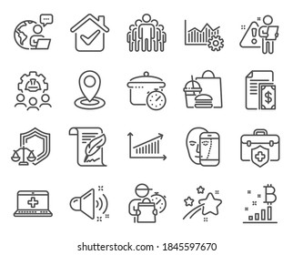 Business icons set. Included icon as Loud sound, Engineering team, Group signs. Medical help, Bitcoin graph, Medical insurance symbols. Location, Face biometrics, Chart. Feather, Payment. Vector
