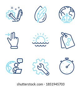 Business icons set. Included icon as Magistrates court, Touchscreen gesture, Timer signs. Sunset, Engineering, Hypoallergenic tested symbols. Pet tags, Customisation line icons. Line icons set. Vector