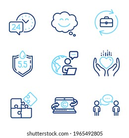 Business icons set. Included icon as Ph neutral, Puzzle, Copywriting notebook signs. Hold heart, Smile chat, Human resources symbols. 24h service, Consulting business line icons. Vector
