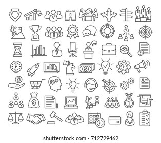 Business icons set in line style. Icons for business, management, career, finance, strategy, banking, marketing.