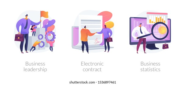 Business icons set. Market success, digital paperwork, corporate research. Business leadership, electronic contract, business statistics metaphors. Vector isolated concept metaphor illustrations