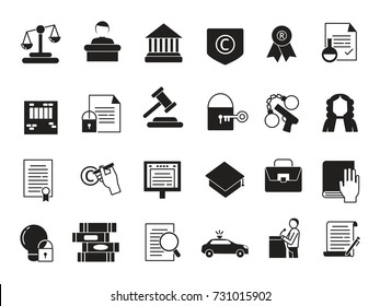 Business icons set in monochrome style. Law and protection. Legal regulations and protection, legal justice and document, vector illustration