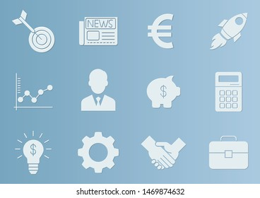 Business icons set in paper cut style,vector illustrations
