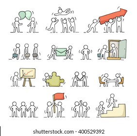 Business icons set of sketch working little people with puzzle, teamwork. Doodle cute miniature scenes of workers. Hand drawn cartoon vector illustration for business design and infographic.