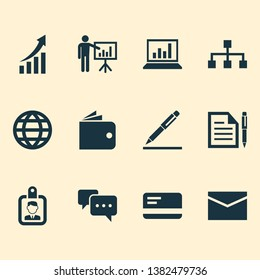 Business icons set with structure, wallet, bank card and other pen elements. Isolated vector illustration business icons.