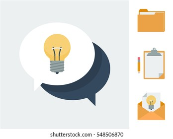 Business icons set symbolizing giving and receiving suggestions and ideas vector illustrations