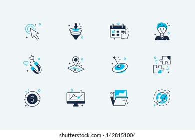 Business icons set vector illustration. Collection consists of biz line art symbols such as work planning location map pin, target, add puzzles, computer with graph flat concept. Isolated on white