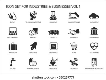 Business icons and symbols of various industries / business sectors like financial services industry, automotive, life sciences, resources industry, entertainment industry and high tech