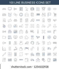 business icons. Trendy 100 business icons. Contain icons such as calendar, clipboard, globe and plane, love letter, van, wallet, barcode, board. business icon for web and mobile.