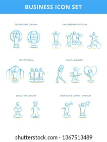 Business icons, vector. Business outline sign, concept symbol, flat illustration. Technology, empowerment, institutional, health, education, campaign and contest division - Vector
