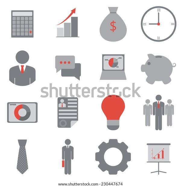 Business icons. Vector set, flat design, EPS 8.