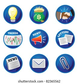 Business icons/buttons for ideas, money, deal/handshake, trends, news, letters, mail/email, and paperclip. Blue vector buttons.
