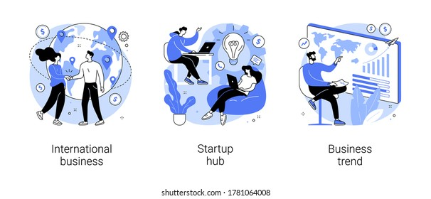 Business idea abstract concept vector illustration set. International business, startup hub, business trend analysis, entrepreneur, IT innovation, partnership, startup incubator abstract metaphor.