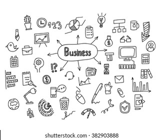 Business Idea hand drawn doodles icons set. Vector illustration