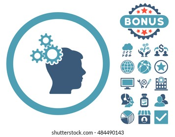Business Idea icon with bonus design elements. Vector illustration style is flat iconic bicolor symbols, cyan and blue colors, white background.