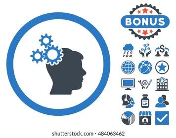 Business Idea icon with bonus symbols. Vector illustration style is flat iconic bicolor symbols, smooth blue colors, white background.