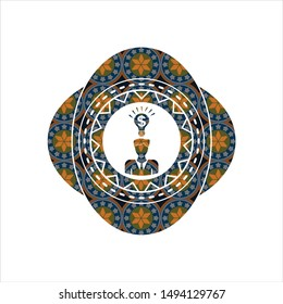 business idea icon inside arabesque badge background. arabic decoration.