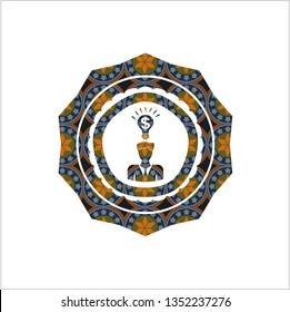 business idea icon inside arabic emblem background. Arabesque decoration.